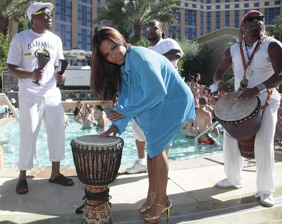 Christina Milian with drums at Luxury Pool at The Palazzo
