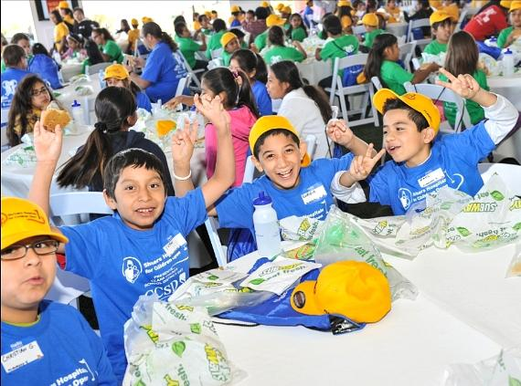 Clark County School District Day - students eat lunch provided by Subway