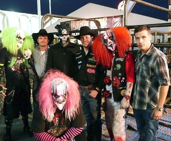Cody Ford, Matt Triplett, Jason Egan with scary clowns at The Fright Dome