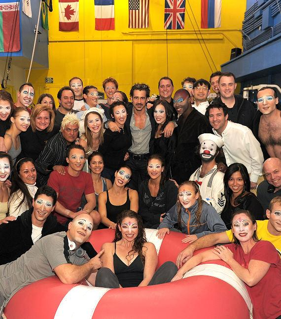 "Colin Farrell backstage with the cast of ""O"""