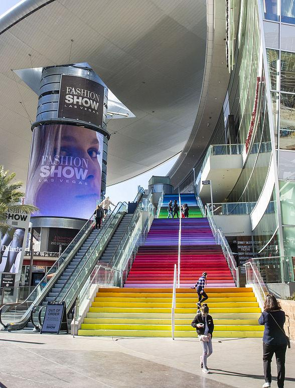 """Fashion Show Las Vegas Reveals Rainbow Mural Installation, """"Colors That Speak to a United City,"""" on Plaza Staircase"""