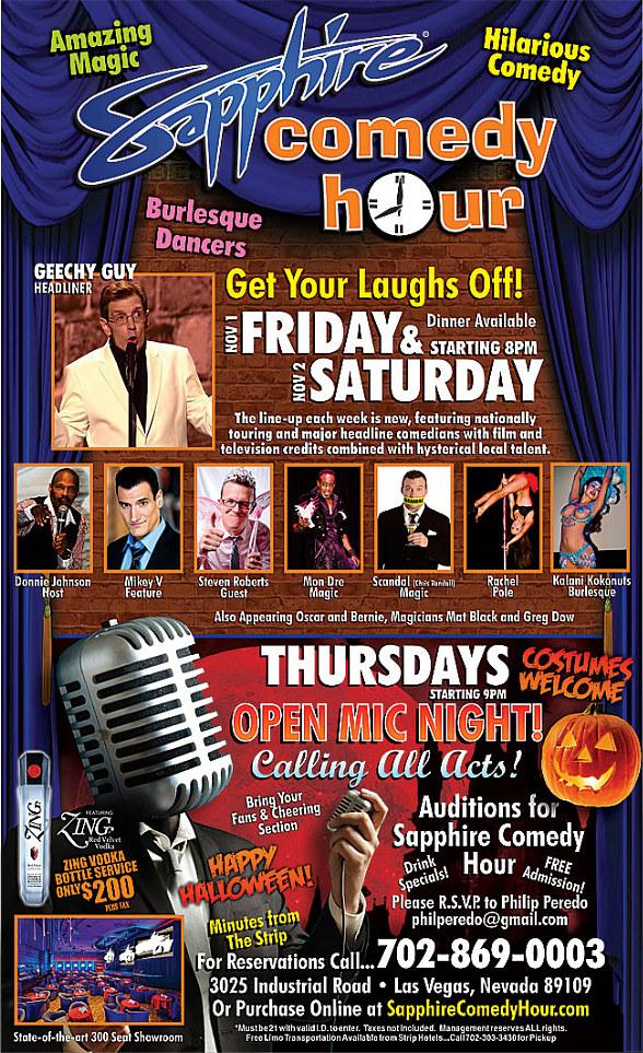 Get Your Laughs Off at the Sapphire Comedy Hour at Sapphire Las Vegas Friday, Nov. 1 and Saturday, Nov. 2