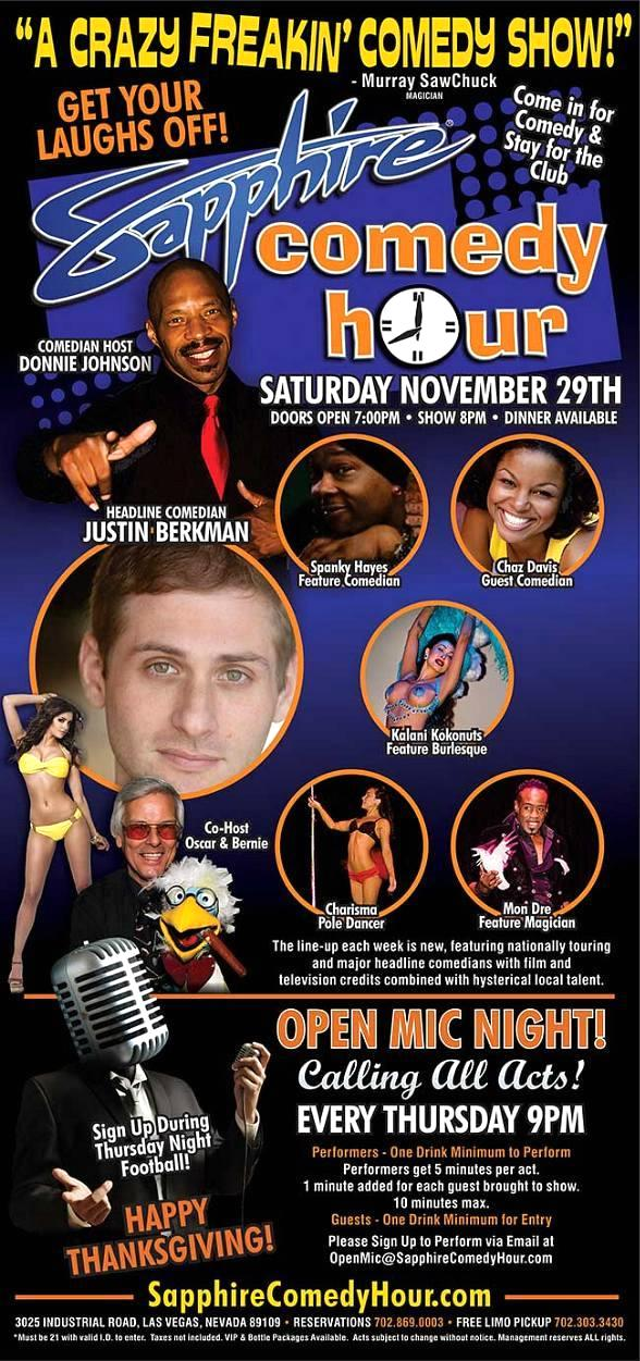 Justin Berkman to Headline Sapphire Comedy Hour on Saturday, Nov. 29