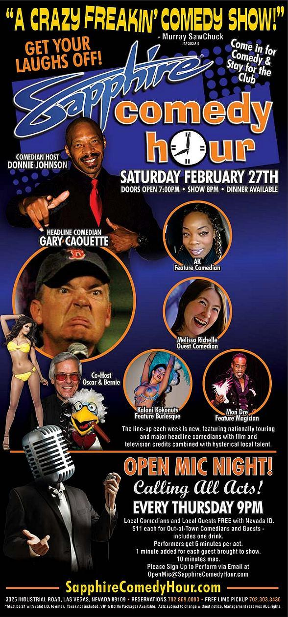 Comedian Gary Caouette to Headline Sapphire Comedy Hour, Saturday Feb. 27