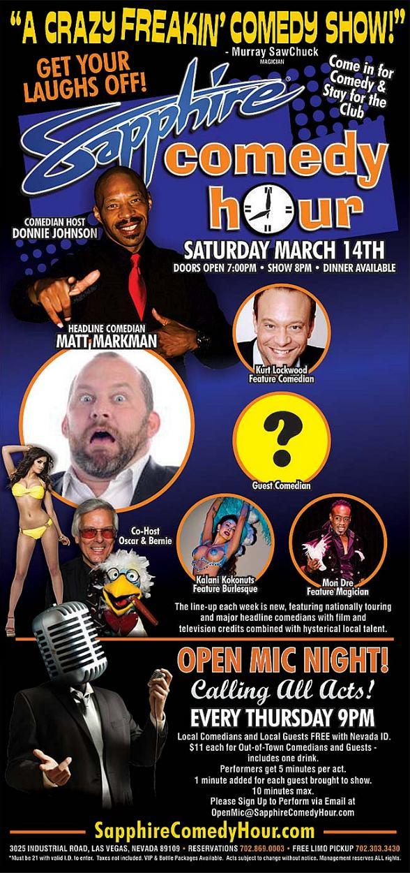 Comedian Matt Markman to Headline Sapphire Comedy Hour, Saturday March 14