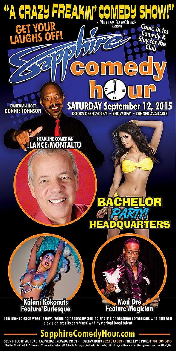 Lance Montalto to Headline Sapphire Comedy Hour, Saturday September 12 with Donnie Johnson, Kalani Kokonuts and Mon Dre!