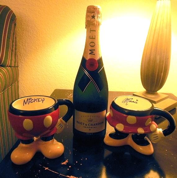 The couple celebrated that evening with Moët & Chandon champagne in Mickey and Minnie cups