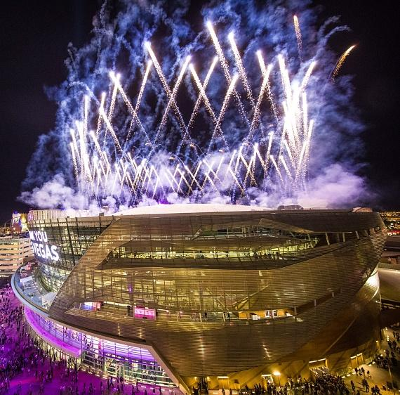 Crowd watching fireworks for grand opening of T-Mobile Arena