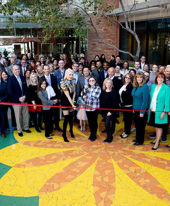 Multi-Platinum recording artist and global icon Gwen Stefani and childhood cancer survivor Kaila Elder cut the ribbon to officially recognize the new home of Cure 4 The Kids Foundation in the One Breakthrough Way building on the Summerlin campus of Roseman University of Health Sciences. Cure 4 The Kids Foundation is Nevada's only nonprofit childhood cancer treatment center. Stefani and Elder are joined by administrators, physicians and staff of Cure 4 the Kids Foundation, as well as representatives of Roseman University of Health Sciences, Howard Hughes Corporation, community members and guests. Photo by Tonya Harvey.