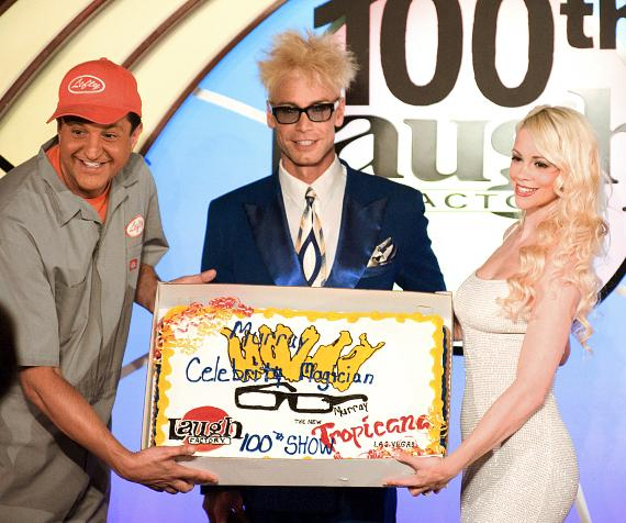 """Lefty, Murray and Chloe with the """"100th Show"""" cake presented by The Tropicana"""