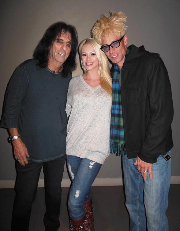 Alice Cooper, Chloe Crawford and Murray SawChuck backstage at the Pearl Theatre