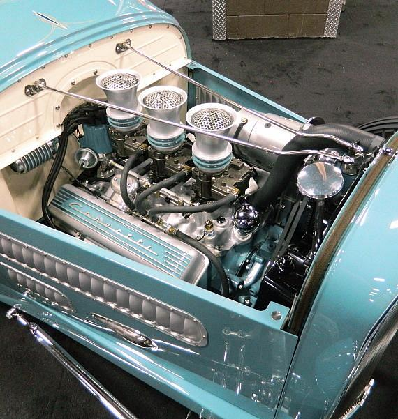 "Engine view of ""The Contender"" 1929 Ford Model A Roadster at Barrett-Jackson"