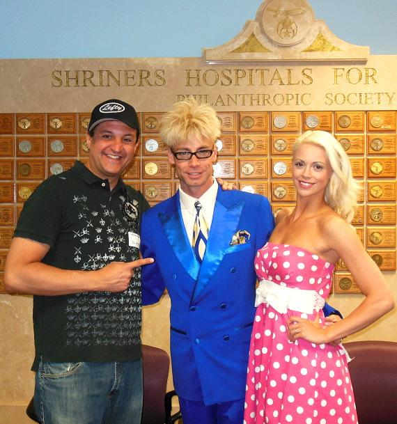 """Murray SawChuck, his wife and FANTASY featured dancer Chloe Crawford, and sidekick Douglas """"Lefty"""" Leferovich at Shriners Children's Hospital"""