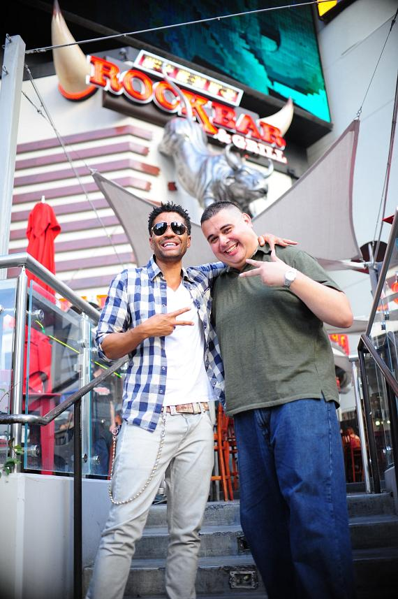 Eric Benét and Robert Blasi outside PBR Rock Bar in Las Vegas