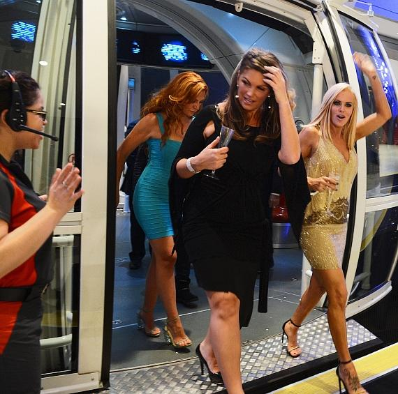 Comedians April Macie, Lynne Koplitz and Jenny McCarthy exit the High Roller at The LINQ Promenade in Las Vegas