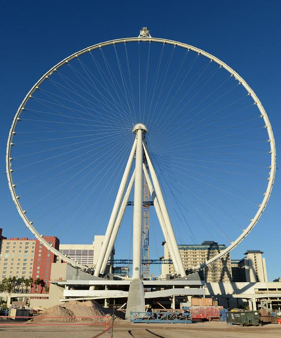 The first passenger cabin is rotated to the top of the Las Vegas High Roller, officially making it the world's tallest observation wheel at 550 feet