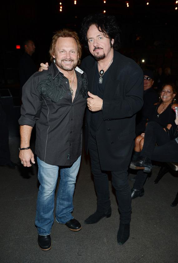 Bassist Michael Anthony (L) and guitarist Steve Lukather arrive at The 5th annual Vegas Rocks! Magazine Music Awards at The Pearl Concert Theater at the Palms Casino Resort