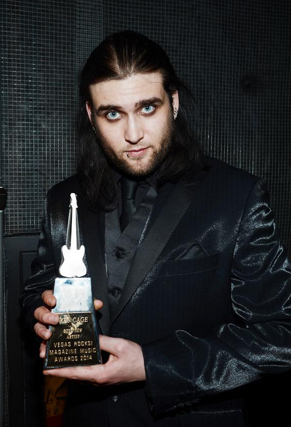 """Wes Cage with """"Best New Artist"""" Award at The 5th annual Vegas Rocks! Magazine Music Awards at The Pearl Concert Theater at the Palms Casino Resort"""