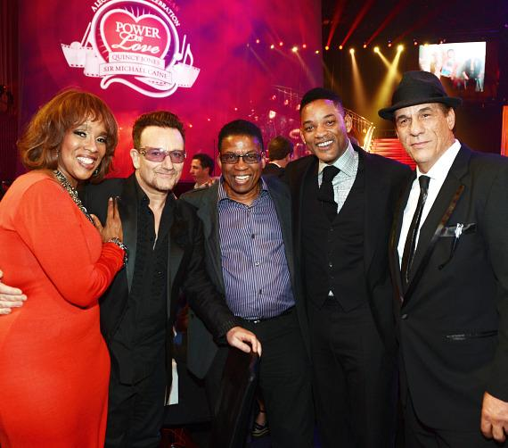 Oprah Magazine editor-at-large Gayle King, singer of U2 Bono, musician Herbie Hancock, actor Will Smith and actor Robert Davi