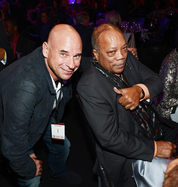 Cirque du Soleil founder Guy Laliberte (L) and record producer Quincy Jones