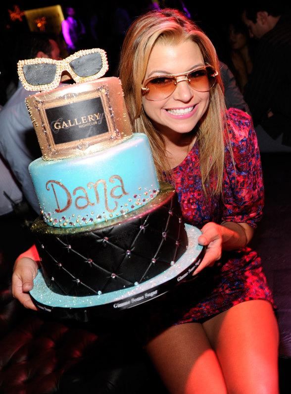 Dana Wilkey with Cake at Gallery Nightclub