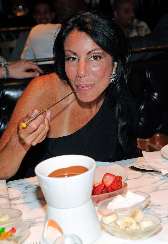 Danielle Staub indulges in milk chocolate fondue at Sugar Factory American Brasserie at Paris Las Vegas