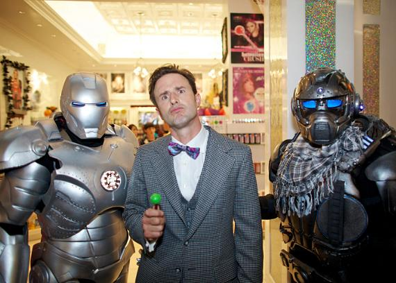 David Arquette with Iron Man characters at Sugar Factory