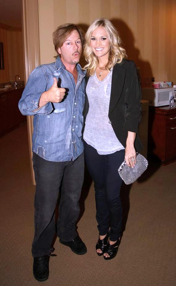 David Spade and Carrie Underwood backstage at the Venetian Showroom