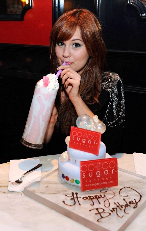 Debby Ryan with a signature Barbie milkshake and birthday cake at Sugar Factory American Brasserie
