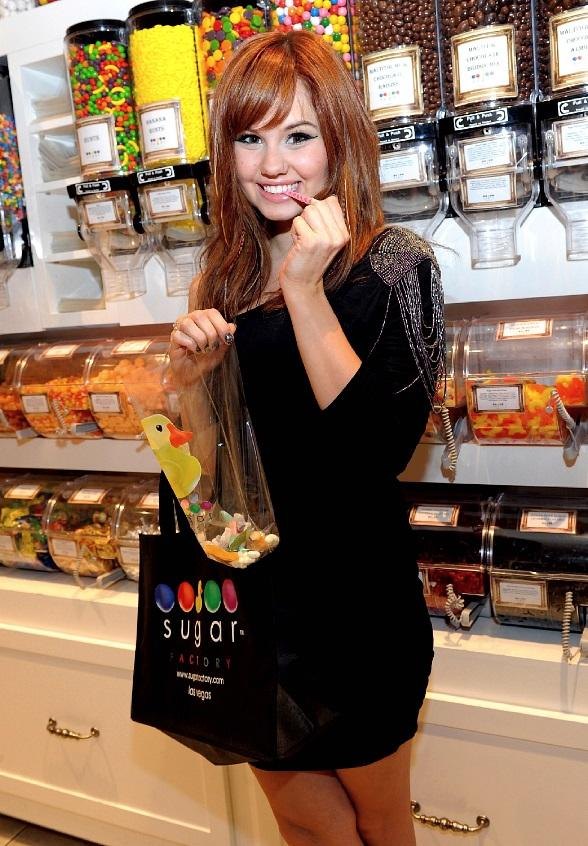 Debby Ryan with some sweet treats at Sugar Factory