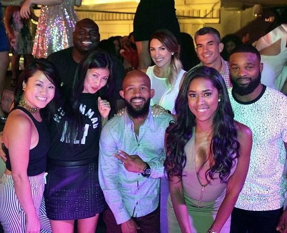 Demetrious Johnson, Shaunie O'Neal, Tyron Woodley and friends at Chateau Nightclub & Rooftop
