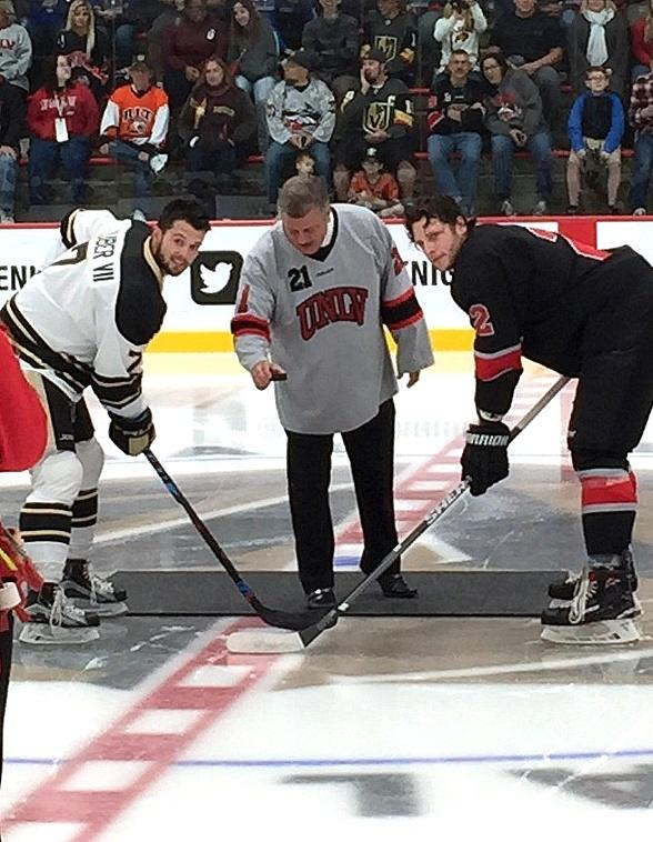 The D Las Vegas CEO Derek Stevens Drops the First Puck at UNLV's First Home Game