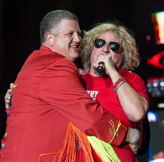 Derek Stevens, owner and CEO of the D, embraces Sammy Hagar during his Birthday Bash at the DLV in Las Vegas