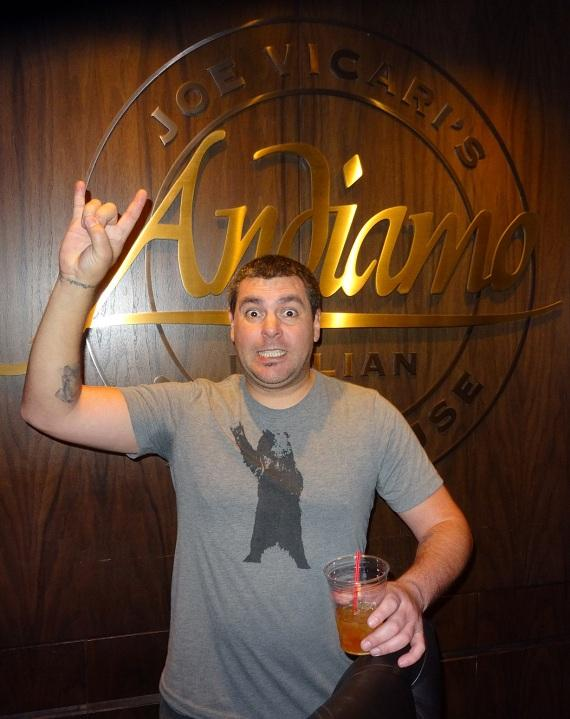 Dryden Mitchell of Alien Ant Farm dines at Andiamo Italian Steakhouse at the D Las Vegas