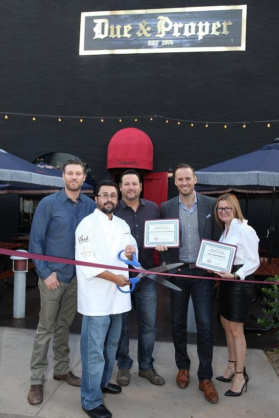 Due & Proper Ribbon Cutting Ceremony – Ryan Doherty, Executive Chef Ricardo Romo, Pete Kaufman, Justin Weniger, Kenna Warner