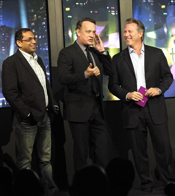 "Rohit Sharma, Chief Executive Officer of the Digital Business Group at Reliance, Tom Hanks and Ross Levinsohn of Yahoo! Announce ""Electric City"" at CES 2012"