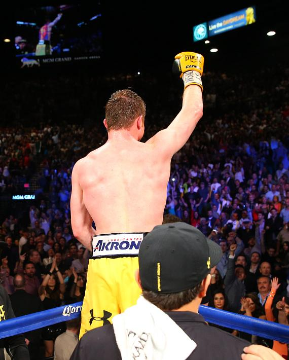 "Canelo Alvarez scored 10th round technical knockout victory over Alfredo ""El Perro"" Angulo in front of 14,610 fans at the MGM Grand Garden Arena"