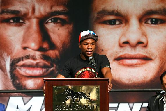 """Floyd """"Money"""" Mayweather at press conference to Promote fight against Marcos """"El Chino"""" Maidana"""