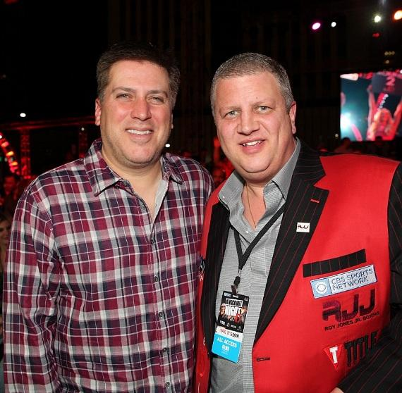"ESPN anchor Steve Levy with the D owner Derek Stevens at ""Knockout Night at the D"" in the Downtown Las Vegas Event Center"