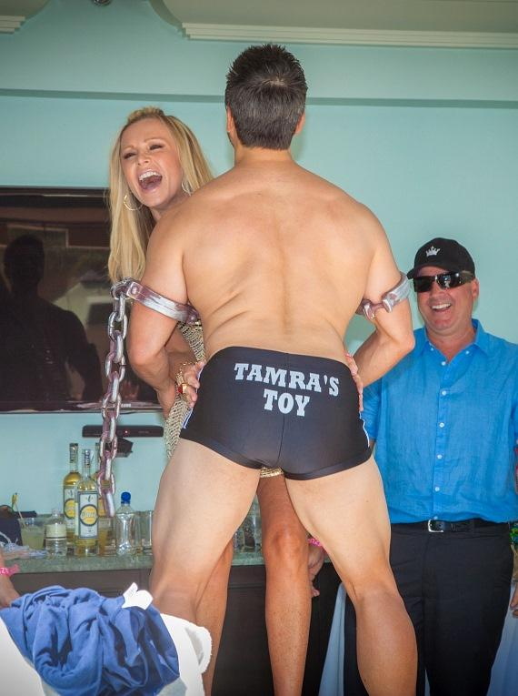 Eddie Judge shows off his Tamra's Toy shorts
