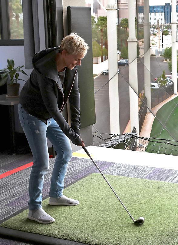 TV Host Ellen DeGeneres Visits Topgolf Las Vegas