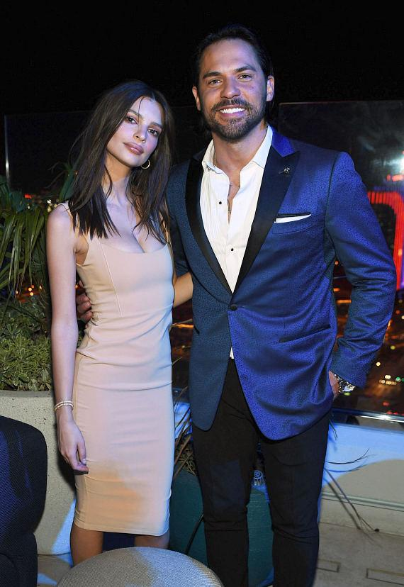 "Actress Emily Ratajkowski with Jason ""Jroc"" Craig at Grand Opening of APEX Social Club at Palms Casino Resort in Las Vegas"