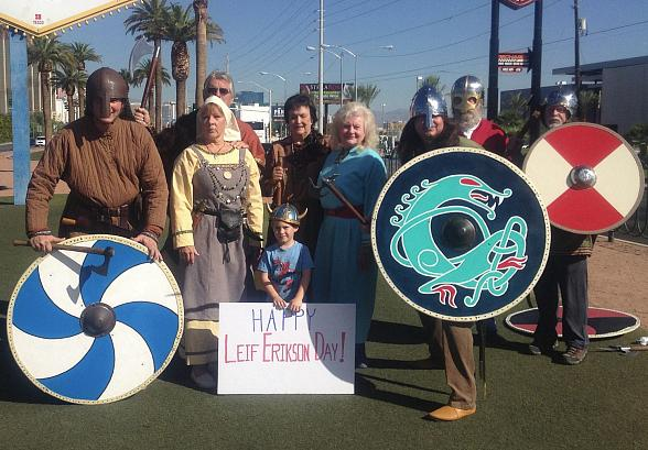 Vikings Converge on 'Welcome to Fabulous Las Vegas Sign' for Leif Erikson Day