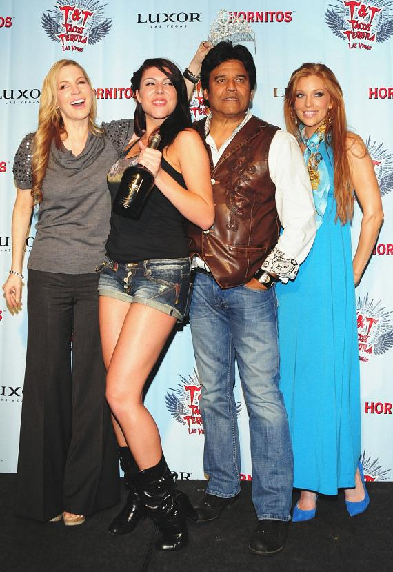 "Alicia Jacobs, the sexy emcee Elissa Sawaya, Erik Estrada and Angelica Bridges on stage right before the crowning of ""Miss T&T Hot Tamale."""