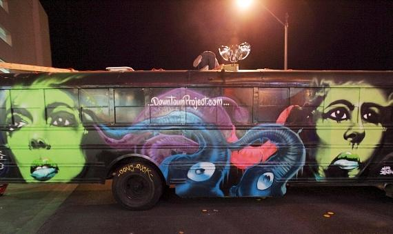 A team of street artists painted this bus at Fremont Street East