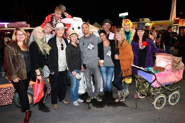 Founders of Burning Man and First Friday staff pose with some of the colorful characters who attended First Friday Las Vegas