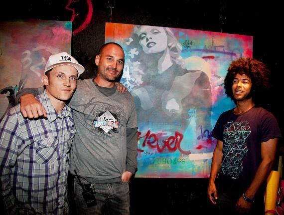 Joey Vanas, Managing Partner of First Friday Las Vegas, with artists Nicholas Blackham and Corey Anderson