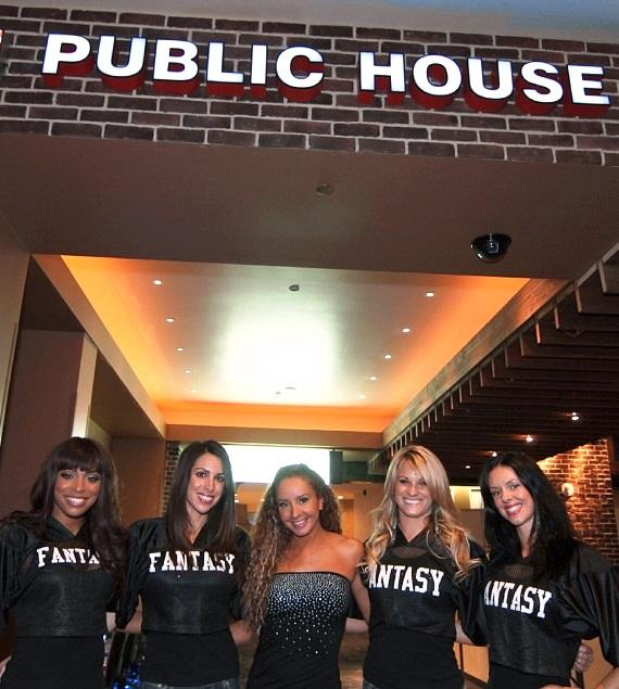 Fantasy ladies pose in front of Public House Las Vegas