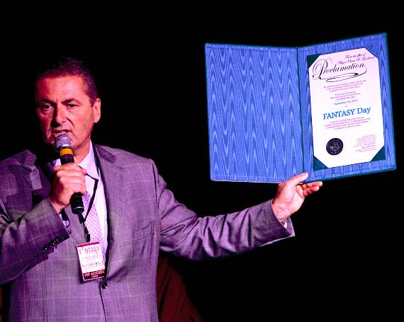 Luxor President Felix Rappaport with FANTASY DAY proclamation