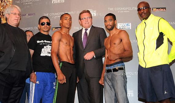 Victor Cayo, The Cosmopolitan of Las Vegas CEO John Unwin, and Lamont Peterson